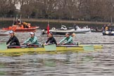 The Cancer Research UK Women's Boat Race 2018: The Cambridge Blue Boat leaving the boathouses area, here 4 seat Thea Zabell, 3 Kelsey Barolak, 2 Imogen Grant, and bow Tricia Smith. River Thames between Putney Bridge and Mortlake, London SW15,  United Kingdom, on 24 March 2018 at 15:49, image #134
