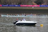The Cancer Research UK Women's Boat Race 2018: Re-enactment of a historic Boat Race, with the light blue/dark blue boats used in the early years of the Oxford/Cambridge Boat Race. River Thames between Putney Bridge and Mortlake, London SW15,  United Kingdom, on 24 March 2018 at 15:59, image #135