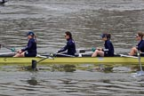 The Cancer Research UK Women's Boat Race 2018: Osiris, the Oxford reserve boat, here 6 seat Sanja Brolih, 5 Sarah Payne Riches, 4 Rachel Anderson, 3 Madeline Goss. River Thames between Putney Bridge and Mortlake, London SW15,  United Kingdom, on 24 March 2018 at 16:02, image #136