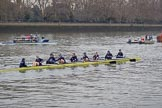 The Cancer Research UK Women's Boat Race 2018: Osiris, the Oxford reserve boat, with cox Eleanor Shearer, stroke Anna Murgatroyd, 7 Olivia Pryer, 6 Sanja Brolih, 5 Sarah Payne Riches, 4 Rachel Anderson, 3 Madeline Goss, 2 Laura Depner, bow Matlida Edwards. River Thames between Putney Bridge and Mortlake, London SW15,  United Kingdom, on 24 March 2018 at 16:02, image #137