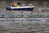 The Cancer Research UK Women's Boat Race 2018: The Cambridge reserve boat Blondie, here  stroke Millie Perrin, 7 Lucy Pike, 6 Larkin Sayre, 5 Daphne Martschenko, 4 Laura Foster, 3 Anne Beenken. River Thames between Putney Bridge and Mortlake, London SW15,  United Kingdom, on 24 March 2018 at 16:03, image #138