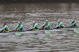 The Cancer Research UK Women's Boat Race 2018: The Cambridge reserve boat Blondie, here 6 seat Larkin Sayre, 5 Daphne Martschenko, 4 Laura Foster, 3 Anne Beenken, 2 Emma Andrews, and bow Pippa Dakin. River Thames between Putney Bridge and Mortlake, London SW15,  United Kingdom, on 24 March 2018 at 16:03, image #139