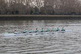 The Cancer Research UK Women's Boat Race 2018: The Cambridge reserve boat Blondie, with cox Sophie Wrixon, stroke Millie Perrin, 7 Lucy Pike, 6 Larkin Sayre, 5 Daphne Martschenko, 4 Laura Foster, 3 Anne Beenken, 2 Emma Andrews, and bow Pippa Dakin. River Thames between Putney Bridge and Mortlake, London SW15,  United Kingdom, on 24 March 2018 at 16:03, image #140