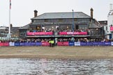 The Cancer Research UK Women's Boat Race 2018: The Thames RC boathouse, used as press office on race day. with a BBC crew and presenter Clare Balding on the balcony before the race. River Thames between Putney Bridge and Mortlake, London SW15,  United Kingdom, on 24 March 2018 at 16:09, image #141