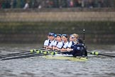 The Cancer Research UK Women's Boat Race 2018: The Oxford women getting ready for the start of the Women's Boat Race - bow Renée Koolschijn, 2 Katherine Erickson, 3 Juliette Perry, 4 Alice Roberts, 5 Morgan McGovern, 6 Sara Kushma, 7 Abigail Killen, stroke Beth Bridgman, cox Jessica Buck. River Thames between Putney Bridge and Mortlake, London SW15,  United Kingdom, on 24 March 2018 at 16:22, image #147