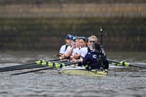 The Cancer Research UK Women's Boat Race 2018: The Oxford women getting ready for the start of the Women's Boat Race - bow Renée Koolschijn, 2 Katherine Erickson, 3 Juliette Perry, 4 Alice Roberts, 5 Morgan McGovern, 6 Sara Kushma, 7 Abigail Killen, stroke Beth Bridgman, cox Jessica Buck. River Thames between Putney Bridge and Mortlake, London SW15,  United Kingdom, on 24 March 2018 at 16:22, image #148