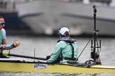 The Cancer Research UK Women's Boat Race 2018: Cambridgestroke Olivia Coffey and cox Sophie Shapter before the start of the Women's Bpat Race. River Thames between Putney Bridge and Mortlake, London SW15,  United Kingdom, on 24 March 2018 at 16:22, image #149