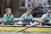 The Cancer Research UK Women's Boat Race 2018: Cambridge 6 seat Alice White, 7 Myriam Goudet-Boukhatmi, and stroke Olivia Coffey before the start of the Women's Boat Race. River Thames between Putney Bridge and Mortlake, London SW15,  United Kingdom, on 24 March 2018 at 16:22, image #150