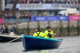 The Cancer Research UK Women's Boat Race 2018: One of the two stake boats at the start line near Putney Bridge. River Thames between Putney Bridge and Mortlake, London SW15,  United Kingdom, on 24 March 2018 at 16:23, image #152