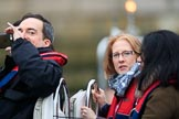 The Cancer Research UK Women's Boat Race 2018: Photographing the photographers from another boat in the flotilla to follow the rave. River Thames between Putney Bridge and Mortlake, London SW15,  United Kingdom, on 24 March 2018 at 16:25, image #153