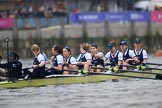 The Cancer Research UK Women's Boat Race 2018: The Oxford women getting ready for the start of the Women's Boat Race - cox Jessica Buck, stroke Beth Bridgman, 7 Abigail Killen, 6 Sara Kushma, 5 Morgan McGovern, 4 Alice Roberts, 3 Juliette Perry, 2 Katherine Erickson, bow Renée Koolschijn. River Thames between Putney Bridge and Mortlake, London SW15,  United Kingdom, on 24 March 2018 at 16:28, image #154