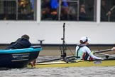 The Cancer Research UK Women's Boat Race 2018: The Cambridge Blue Boat at the stake boat,  getting ready for the start of the race. River Thames between Putney Bridge and Mortlake, London SW15,  United Kingdom, on 24 March 2018 at 16:28, image #157