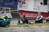 The Cancer Research UK Women's Boat Race 2018: The Oxford Blue Boat held in place at the stake boat, just before the start of the race: Cox Jessica Buck, stroke Beth Bridgman. River Thames between Putney Bridge and Mortlake, London SW15,  United Kingdom, on 24 March 2018 at 16:28, image #160