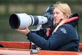 The Cancer Research UK Women's Boat Race 2018: Sports photgrapher Naomi Baker of Getty Images at work for the Boat Race Company. River Thames between Putney Bridge and Mortlake, London SW15,  United Kingdom, on 24 March 2018 at 16:29, image #161