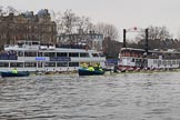 The Cancer Research UK Women's Boat Race 2018: The Oxford and Cambridge Blue Boats wit the stake boatsm ready for the start of the race. River Thames between Putney Bridge and Mortlake, London SW15,  United Kingdom, on 24 March 2018 at 16:31, image #162