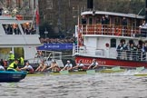 The Cancer Research UK Women's Boat Race 2018: The race has been started, and the boats have been released from the stake boats. River Thames between Putney Bridge and Mortlake, London SW15,  United Kingdom, on 24 March 2018 at 16:31, image #164