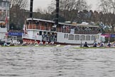 The Cancer Research UK Women's Boat Race 2018: Seconds after the start of the Women's Boat Race, the boats passing the two passenger ships carrying friends and families. River Thames between Putney Bridge and Mortlake, London SW15,  United Kingdom, on 24 March 2018 at 16:31, image #165