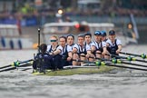 The Cancer Research UK Women's Boat Race 2018: The Oxford Blue Boat between Putney Bridge and the boathouses - cox Jessica Buck, stroke Beth Bridgman, 7 Abigail Killen, 6 Sara Kushma, 5 Morgan McGovern, 4 Alice Roberts, 3 Juliette Perry, 2 Katherine Erickson, bow Renée Koolschijn. River Thames between Putney Bridge and Mortlake, London SW15,  United Kingdom, on 24 March 2018 at 16:31, image #167