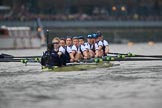 The Cancer Research UK Women's Boat Race 2018: The Oxford Blue Boat between Putney Bridge and the boathouses - cox Jessica Buck, stroke Beth Bridgman, 7 Abigail Killen, 6 Sara Kushma, 5 Morgan McGovern, 4 Alice Roberts, 3 Juliette Perry, 2 Katherine Erickson, bow Renée Koolschijn. River Thames between Putney Bridge and Mortlake, London SW15,  United Kingdom, on 24 March 2018 at 16:31, image #168