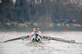 The Cancer Research UK Women's Boat Race 2018: The Cambridge Blue Boat, near the Mile Post, and ahead of Oxford. Cox Sophie Shapter, stroke Olivia Coffey, 7 Myriam Goudet-Boukhatmi, 6 Alice White, 5 Paula Wesselmann, 4 Thea Zabell, 3 Kelsey Barolak, 2	Imogen Grant, bow Tricia Smith. River Thames between Putney Bridge and Mortlake, London SW15,  United Kingdom, on 24 March 2018 at 16:33, image #169