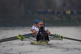 The Cancer Research UK Women's Boat Race 2018: The Oxford Blue Boat chasing Cambridge near Craven Cottage - cox Jessica Buck, stroke Beth Bridgman, 7 Abigail Killen, 6 Sara Kushma, 5 Morgan McGovern, 4 Alice Roberts, 3 Juliette Perry, 2 Katherine Erickson, bow Renée Koolschijn. River Thames between Putney Bridge and Mortlake, London SW15,  United Kingdom, on 24 March 2018 at 16:34, image #170