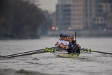 The Cancer Research UK Women's Boat Race 2018: The Oxford Blue Boat chasing Cambridge near Craven Cottage - cox Jessica Buck, stroke Beth Bridgman, 7 Abigail Killen, 6 Sara Kushma, 5 Morgan McGovern, 4 Alice Roberts, 3 Juliette Perry, 2 Katherine Erickson, bow Renée Koolschijn. River Thames between Putney Bridge and Mortlake, London SW15,  United Kingdom, on 24 March 2018 at 16:34, image #171