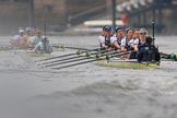 The Cancer Research UK Women's Boat Race 2018: Cambridge is getting away - near Harrods Repository, in the Oxford boat bow Renée Koolschijn, 2 Katherine Erickson, 3 Juliette Perry, 4 Alice Roberts, 5 Morgan McGovern, 6 Sara Kushma, 7 Abigail Killen, stroke Beth Bridgman, cox Jessica Buck. River Thames between Putney Bridge and Mortlake, London SW15,  United Kingdom, on 24 March 2018 at 16:37, image #177