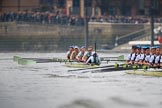 The Cancer Research UK Women's Boat Race 2018: Having a clear view of the leading Cambridge boat was quite rare during this years race. Bow Tricia Smith, 2 Imogen Grant, 3 Kelsey Barolak, 4 Thea Zabell, 5 Paula Wesselmann, 6 Alice White, 7 Myriam Goudet-Boukhatmi, stroke	Olivia Coffey, cox Sophie Shapter. River Thames between Putney Bridge and Mortlake, London SW15,  United Kingdom, on 24 March 2018 at 16:37, image #178