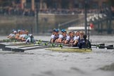 The Cancer Research UK Women's Boat Race 2018: Cambridge is getting away - near Harrods Repository, in the Oxford boat bow Renée Koolschijn, 2 Katherine Erickson, 3 Juliette Perry, 4 Alice Roberts, 5 Morgan McGovern, 6 Sara Kushma, 7 Abigail Killen, stroke Beth Bridgman, cox Jessica Buck. River Thames between Putney Bridge and Mortlake, London SW15,  United Kingdom, on 24 March 2018 at 16:37, image #180