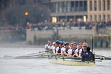 The Cancer Research UK Women's Boat Race 2018: The Cambridge women are getting further ahead on the way to Hammersmith Bridge. In the Oxforf boat Bow Renée Koolschijn, 2 Katherine Erickson, 3 Juliette Perry, 4 Alice Roberts, 5 Morgan McGovern, 6 Sara Kushma, 7 Abigail Killen, stroke Beth Bridgman, cox Jessica Buck. River Thames between Putney Bridge and Mortlake, London SW15,  United Kingdom, on 24 March 2018 at 16:37, image #181