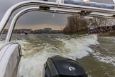 The Cancer Research UK Women's Boat Race 2018: The waves behind the press launch give an idea how fast the rowers are - they are fast!. River Thames between Putney Bridge and Mortlake, London SW15,  United Kingdom, on 24 March 2018 at 16:40, image #185
