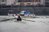 The Cancer Research UK Women's Boat Race 2018: Near Chiswick Eyot, and the Cambridge women are getting further ahead. River Thames between Putney Bridge and Mortlake, London SW15,  United Kingdom, on 24 March 2018 at 16:43, image #187