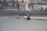 The Cancer Research UK Women's Boat Race 2018: Near the Bandstand - the Cambridge women keep extending their lead. River Thames between Putney Bridge and Mortlake, London SW15,  United Kingdom, on 24 March 2018 at 16:45, image #188