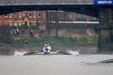 The Cancer Research UK Women's Boat Race 2018: Near Barnes Bridge, the Oxford boat, just visible on the right, is falling further back. In the Cambridge boat bow Tricia Smith, 2 Imogen Grant, 3 Kelsey Barolak, 4 Thea Zabell, 5 Paula Wesselmann, 6 Alice White, 7 Myriam Goudet-Boukhatmi, stroke Olivia Coffey, cox Sophie Shapter. River Thames between Putney Bridge and Mortlake, London SW15,  United Kingdom, on 24 March 2018 at 16:46, image #193