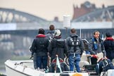 The Cancer Research UK Women's Boat Race 2018: The umpire's launch, with race umpire Sire Matthew Pinsent in front. River Thames between Putney Bridge and Mortlake, London SW15,  United Kingdom, on 24 March 2018 at 16:46, image #195