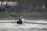 The Cancer Research UK Women's Boat Race 2018: The Oxford boat - cox Jessica Buck, stroke Beth Bridgman, 7 Abigail Killen, 6 Sara Kushma, 5 Morgan McGovern, 4 Alice Roberts, 3 Juliette Perry, 2 Katherine Erickson, bow Renée Koolschijn. River Thames between Putney Bridge and Mortlake, London SW15,  United Kingdom, on 24 March 2018 at 16:47, image #200