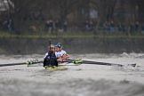 The Cancer Research UK Women's Boat Race 2018: The Oxford boat - cox Jessica Buck, stroke Beth Bridgman, 7 Abigail Killen, 6 Sara Kushma, 5 Morgan McGovern, 4 Alice Roberts, 3 Juliette Perry, 2 Katherine Erickson, bow Renée Koolschijn. River Thames between Putney Bridge and Mortlake, London SW15,  United Kingdom, on 24 March 2018 at 16:47, image #201