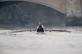 The Cancer Research UK Women's Boat Race 2018: Oxford getting close to the finish line. The photo does not show how far the Cambridge boat is ahead. River Thames between Putney Bridge and Mortlake, London SW15,  United Kingdom, on 24 March 2018 at 16:50, image #208