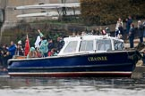 The Cancer Research UK Women's Boat Race 2018: Chasnee, an ex-Police Boat which formed part of the Metropolitan Police's Thames Division, here used by the finish line judge. River Thames between Putney Bridge and Mortlake, London SW15,  United Kingdom, on 24 March 2018 at 16:50, image #218