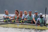 The Cancer Research UK Women's Boat Race 2018: The Cambridge women celebrating their win - bow Tricia Smith, 2 Imogen Grant, 3 Kelsey Barolak, 4 Thea Zabell, 5 Paula Wesselmann, 6 Alice White, 7 Myriam Goudet-Boukhatmi, stroke Olivia Coffey, cox Sophie Shapter. River Thames between Putney Bridge and Mortlake, London SW15,  United Kingdom, on 24 March 2018 at 16:51, image #225
