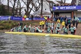 The Cancer Research UK Women's Boat Race 2018: The Cambridge women. having won the 2018 Women's Boat Race, arrive at Mortlake Boat Club. River Thames between Putney Bridge and Mortlake, London SW15,  United Kingdom, on 24 March 2018 at 16:55, image #226