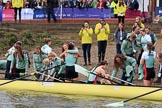 The Cancer Research UK Women's Boat Race 2018: The Cambridge women. having won the 2018 Women's Boat Race, arrive at Mortlake Boat Club. River Thames between Putney Bridge and Mortlake, London SW15,  United Kingdom, on 24 March 2018 at 16:55, image #227