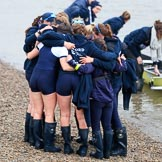 The Cancer Research UK Women's Boat Race 2018: The Oxford women, arriving second, huddled together after the race. River Thames between Putney Bridge and Mortlake, London SW15,  United Kingdom, on 24 March 2018 at 16:58, image #228