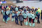The Cancer Research UK Women's Boat Race 2018: The Cambridge women, after winning the 2018 Women's Boat Race, with their Head Coach Rob Baker at Mortlake Boat Club. River Thames between Putney Bridge and Mortlake, London SW15,  United Kingdom, on 24 March 2018 at 16:59, image #230