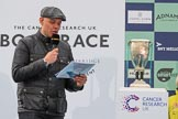 The Cancer Research UK Women's Boat Race 2018: The BBC's Jason Mohammad. with the Women's Boat Race trophy. River Thames between Putney Bridge and Mortlake, London SW15,  United Kingdom, on 24 March 2018 at 17:04, image #232
