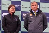 The Cancer Research UK Women's Boat Race 2018: Hanneke Smits, CEO of Newton Investments, and Fergus Murison, director of the Boat Rave Company, at the Women's Boat Race trophy presentation. River Thames between Putney Bridge and Mortlake, London SW15,  United Kingdom, on 24 March 2018 at 17:05, image #234