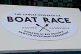 """The Cancer Research UK Women's Boat Race 2018: The big sign at the podium for the Booat Race trophy presentation - """"The Cancer Research UK Boat Race"""". River Thames between Putney Bridge and Mortlake, London SW15,  United Kingdom, on 24 March 2018 at 17:05, image #235"""