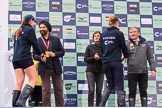 The Cancer Research UK Women's Boat Race 2018: Conratulations for the runners-up of the Women's Boat Race, Oxford 2 seat Katherine Erickson with Sir Harpal Kumar, and Oxford bow Renée Koolschijn with Fergus Murison. River Thames between Putney Bridge and Mortlake, London SW15,  United Kingdom, on 24 March 2018 at 17:05, image #236