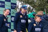 The Cancer Research UK Women's Boat Race 2018: Stepping down from the podium after the race - Oxford' s 3 seat Juliette Perry, 2 Katherine Erickson, and bow Renée Koolschijn. River Thames between Putney Bridge and Mortlake, London SW15,  United Kingdom, on 24 March 2018 at 17:05, image #239