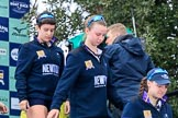 The Cancer Research UK Women's Boat Race 2018: Stepping down from the podium after the race - Oxford' s 4 seat Alice Roberts, 3 Juliette Perry, 2 Katherine Erickson. River Thames between Putney Bridge and Mortlake, London SW15,  United Kingdom, on 24 March 2018 at 17:05, image #240
